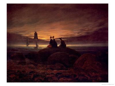 Moon Rising over the Sea, 1822 Premium Giclee Print by Caspar David Friedrich