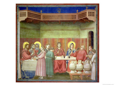 The Marriage Feast at Cana, circa 1305 Giclée-tryk af  Giotto di Bondone