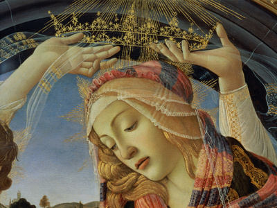 The Madonna of the Magnificat, Detail of the Virgin's Face and Crown, 1482 Premium Giclee Print by Sandro Botticelli