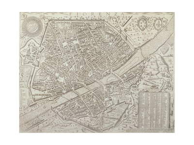 Map of Florence, 1595 Premium Giclee Print by Matteo Florimi