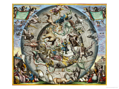 Map of the Constellations of the Northern Hemisphere Premium Giclee Print by Andreas Cellarius