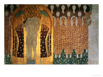 Here's a Kiss to the Whole World!, Detail of the Beethoven Frieze, 1902 Giclee Print by Gustav Klimt