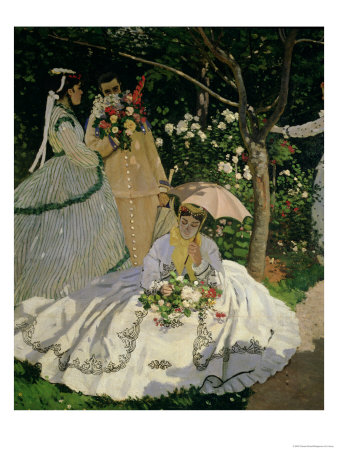Women in the Garden, Detail of a Seated Woman with a Parasol, 1867 Premium Giclee Print by Claude Monet