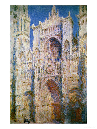 Rouen Cathedral, West Facade, Sunlight, 1894 Premium Giclee Print by Claude Monet