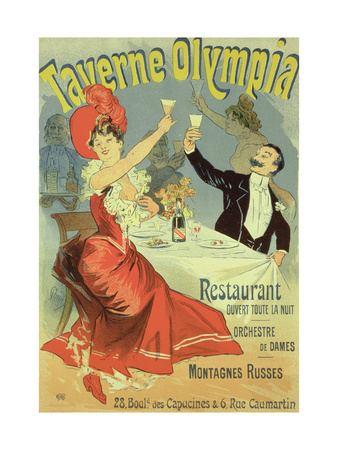 "Reproduction of a Poster Advertising the ""Taverne Olympia,"" Paris, 1899 Premium Giclee Print by Jules Chéret"
