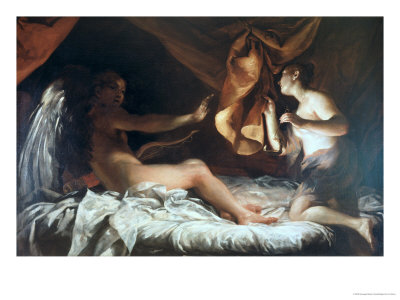 Psyche Discovers Cupid Premium Giclee Print by Giuseppe Maria Crespi