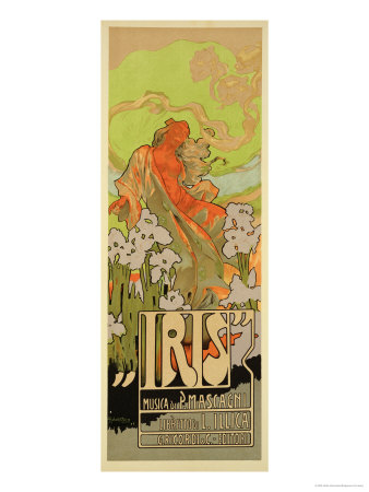 """Reproduction of a Poster Advertising """"Iris,"""" a Comical Opera, 1898 Giclee Print by Adolfo Hohenstein"""
