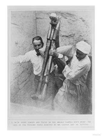 Howard Carter and an Egyptian Removing the Typhonic Couch from the Tomb of Tutankhamun Giclee Print