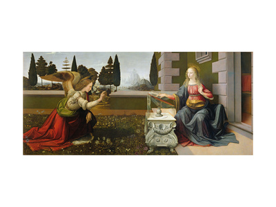 Bebudelsen, 1472-75 Giclée-tryk af Leonardo da Vinci,