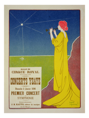 """Reproduction of a Poster Advertising the """"Ysaye Concerts,"""" Salle Du Cirque Royal, Brussels, 1895 Premium Giclee Print by Henri Georges Jean Isidore Meunier"""
