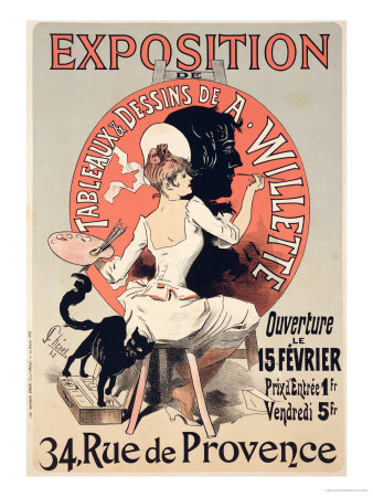 Reproduction of a Poster Advertising an Exhibition of the Paintings and Drawings of A. Willette Premium Giclee Print by Jules Chéret