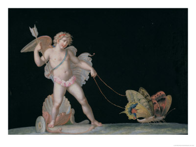 Cupid Led by Butterflies Giclee Print by Michelangelo Maestri