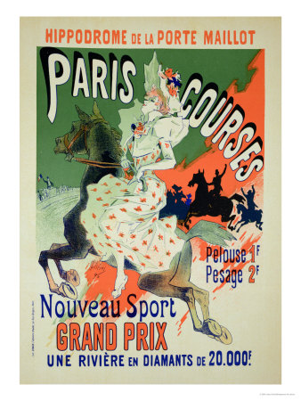 "Reproduction of a Poster Advertising ""Paris Courses"" Premium Giclee Print by Jules Chéret"