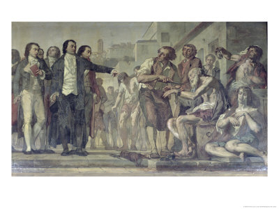Philippe Pinel Releasing Lunatics from Their Chains at the Bicetre Asylum in Paris in 1793 Premium Giclee Print by Charles Louis Lucien Muller
