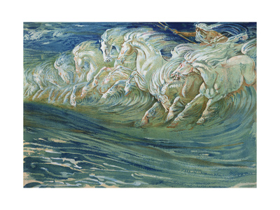 "Neptune's Horses, Illustration for ""The Greek Mythological Legend,"" Published in London, 1910 Premium Giclee Print by Walter Crane"