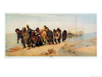 Convicts Pulling a Boat Along the Volga River, Russia, 1873 Giclee Print by Ilya Efimovich Repin