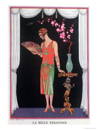 Worth Evening Dress, Fashion Plate from Gazette Du Bon Ton, 1925 Premium Giclee Print by Georges Barbier