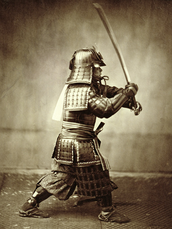 Samurai with Raised Sword, circa 1860 reproduction procédé giclée