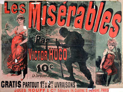 Les Miserables vintage advertisement literary poster for classrooms
