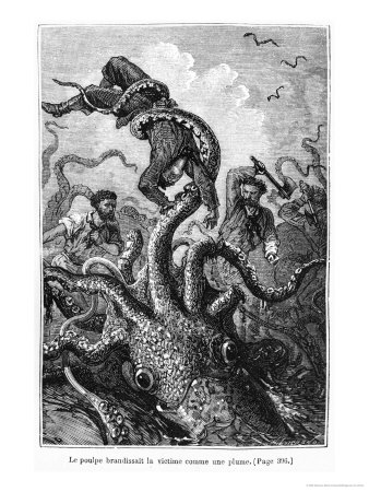 """The Octopus Attacking the Nautilus, Illustration from """"20,000 Leagues under the Sea"""" Premium Giclee Print by Alphonse Marie de Neuville"""