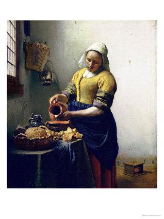 The Milkmaid, circa 1658-60 Premium Giclee Print by Jan Vermeer