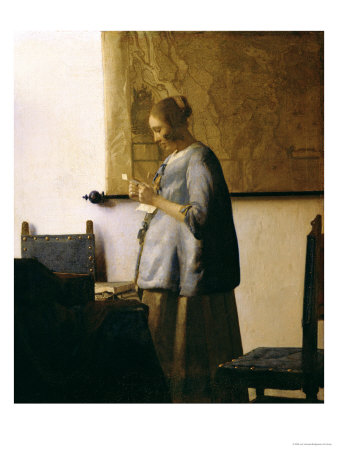 Woman Reading a Letter, circa 1662-63 reproduction procd gicle