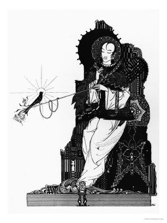"""The Emperor and the Nightingale, Illustration for """"The Nightingale"""" Premium Giclee Print by Harry Clarke"""