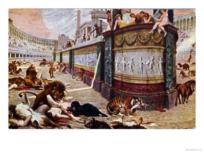 """Postcard Depicting the Bloody Games in the Arena in Rome, Illustration from """"Quo Vadis,"""" 1910 Premium Giclee Print by Jan Styka"""