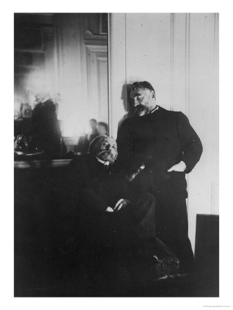 Auguste Renoir and Stephane Mallarme Premium Giclee Print by Edgar Degas