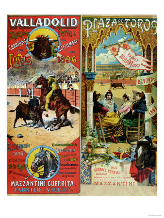 Posters Advertising Bull-Fights in Valladolid, 1896 and in Bayonne, 1897 Lámina giclée