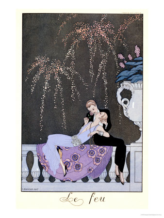 """The Fire, Illustration for """"Fetes Galantes"""" by Paul Verlaine 1924 Premium Giclee Print by Georges Barbier"""