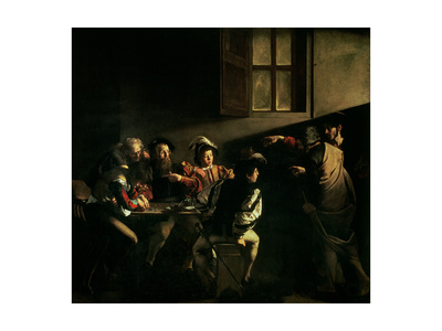 The Calling of St. Matthew, circa 1598-1601 Premium Giclee Print by  Caravaggio