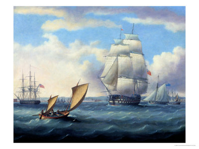 Euryalus (Capt. Blackwood), Thunderer and Ajax Leaving Plymouth to the Battle of Trafalgar (1805) Giclee Print by Thomas Buttersworth