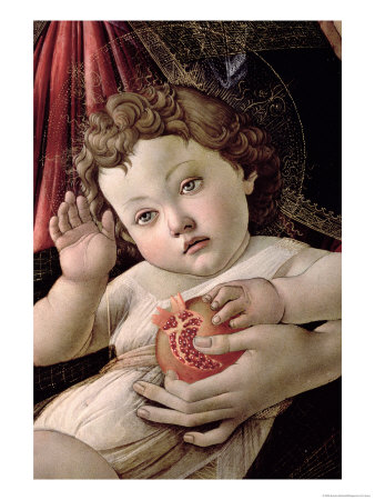 Detail of the Child with Pomegranate from the Madonna Della Melagrana Premium Giclee Print by Sandro Botticelli