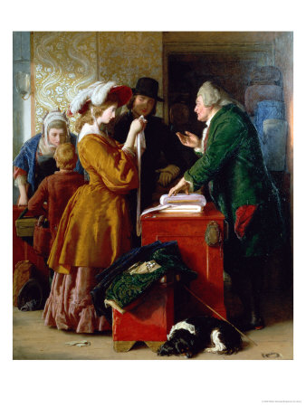 "Choosing the Wedding Gown from Goldsmith's ""Vicar of Wakefield,"" Chapter 1 Premium Giclee Print by William Mulready"