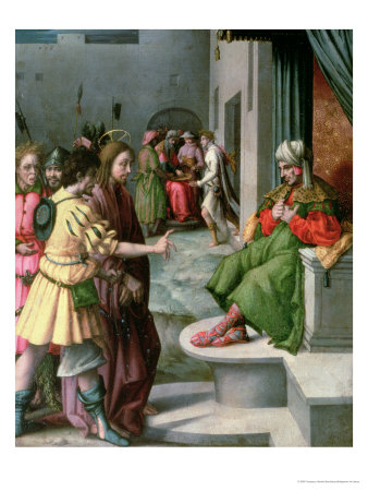 Christ in Front of Caiaphas Premium Giclee Print by Francesco Ubertini Bacchiacca