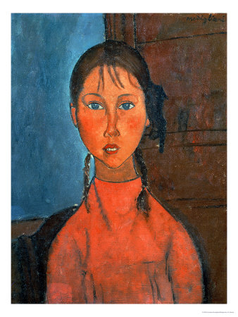 Girl with Pigtails, circa 1918 Premium Giclee Print by Amedeo Modigliani
