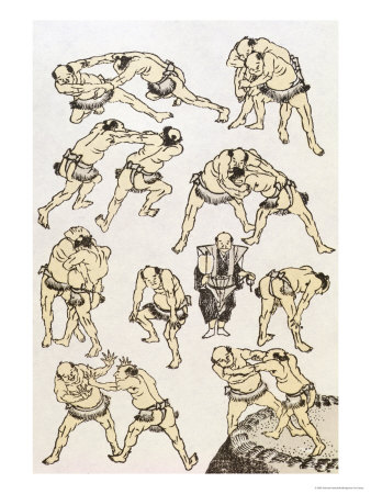 Manga: Studies of Gestures and Postures of Wrestlers, Published 1849 Giclee