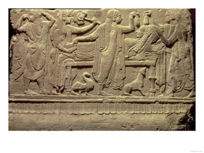 Stone Funerary Relief, Laying out of a Corpse and Funerary Rites, Etruscan Period, circa 490-80 BC Giclee Print