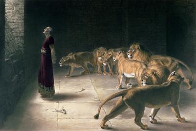Daniel in the Lions Den, Mezzotint by J. B. Pratt, with Hand Colouring Premium Giclee Print by Briton Rivière