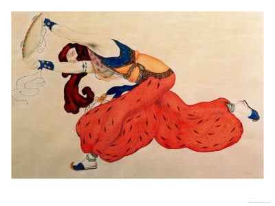 A Study for a Figure of a Dancer for Scheherazade Premium Giclee Print by Leon Bakst