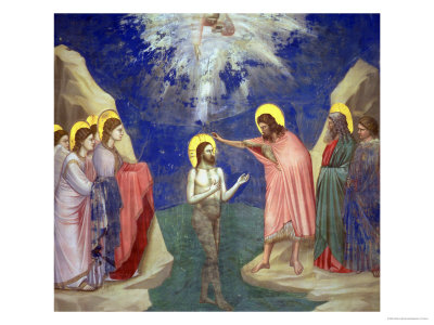 The Baptism of Christ, circa 1305 Giclée-tryk af  Giotto di Bondone