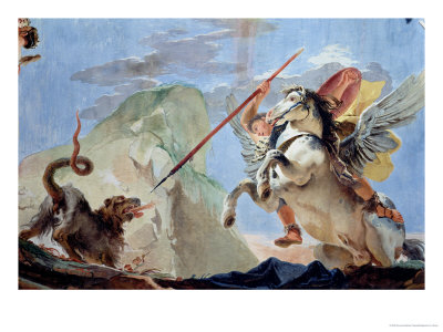 Bellerophon, Riding Pegasus, Slaying the Chimaera (Detail) Premium Giclee Print by Giovanni Battista Tiepolo