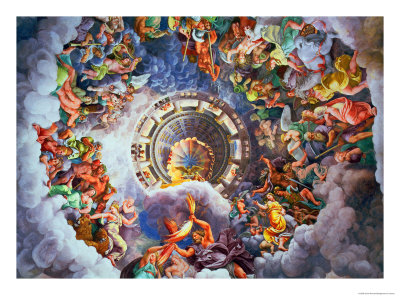 The Gods of Olympus, Trompe L'Oeil Ceiling from the Sala Dei Giganti, 1528 Premium Giclee Print by Giulio Romano