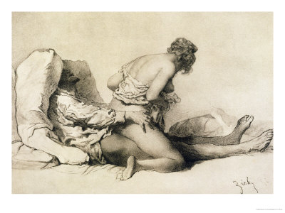 "A Man and Woman Making Love, Plate I of ""Liebe,"" 1901 Premium Giclee Print by Mihaly von Zichy"