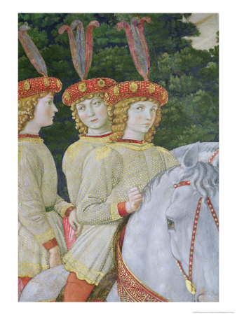 Maria, Bianca and Nannina Medici, Younger Sisters of Lorenzo and Giuliano, Detail Giclee Print by Benozzo di Lese di Sandro Gozzoli