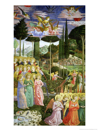 Angels in a Heavenly Landscape, the Left Hand Wall of the Apse Premium Giclee Print by Benozzo di Lese di Sandro Gozzoli