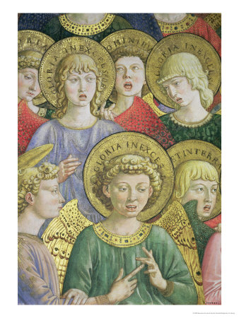 Choir of Angels, Detail from the Journey of the Magi Cycle in the Chapel, circa 1460 Premium Giclee Print by Benozzo di Lese di Sandro Gozzoli