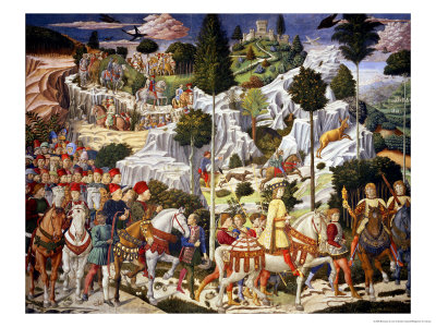 The Journey of the Magi to Bethlehem, the Right Hand Wall of the Chapel, circa 1460 Premium Giclee Print by Benozzo di Lese di Sandro Gozzoli