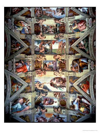 Sistine Chapel Ceiling and Lunettes, 1508-12 Premium Giclee Print by  Michelangelo Buonarroti